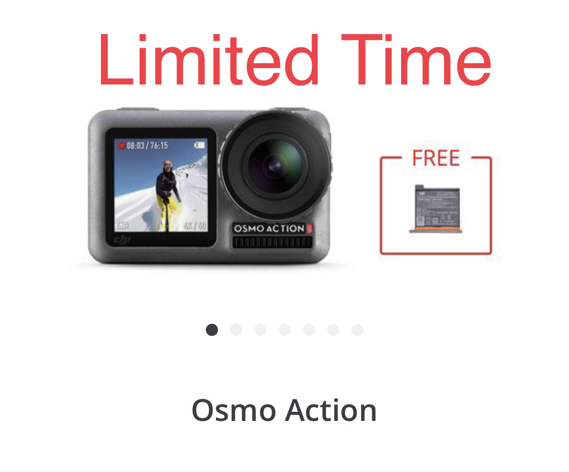 £50 Off a Dji Osmo Action and a FREE Extra Battery